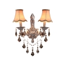 Classic 19'' High Two Light Wall Sconce Features Antique Silver Finish Frame and Various Crystal Drops