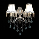 Stunning Wall Light Fixture Features Lead Crystal Drops and Delicate Polished Silver Finish Topped with White Fabric Shades