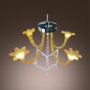 Murano Country Style Four Flower Lighted Chandelier Hanging Crystal Strands and Droplets