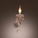 Elegant Single Light Crystal Wall Sconce with Delicate Droplets and Graceful Curving Arm