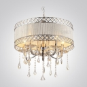 Hnad-Cut  Crystal Pendaloques Modern Drum Shade Electroplated 19.6