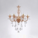 Stunning Handcut Rock Crystal Amber Glass Arms 6-Light Classic Chandelier