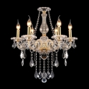 Artfully Crystal Centerpiece and Arms Gold Chandelier Hanging Clear Crystal Droplets