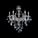 Chrome Finished Candle Lights Brown Crystal Traditional Chandelier Light