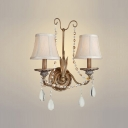 Handsome Traditional Wall Sconce Style Complete with Scrolling Arms and Crystal Beads Detailing
