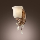 Beautiful Scrolls and Beaded Crystal Leaves Makes Traditional Wall Light Fixture Welcomed Addition