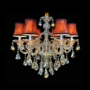 Crystal Pendaloques Crystal Glass Column and Beautiful Shades Richly Elegant Chandelier