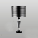 Sophisticated Table Lamp Set Featuring Crystal Center  Topped with Black Drum Shade