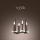 Sophisticate Design Four Light Island Light Features Square Crystal Plate and Brown Finish