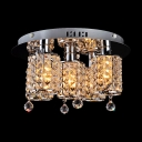 Warm Light and Graceful Crystals Add Glamour to Magnificent Semi Flush Ceiling Light Fixture