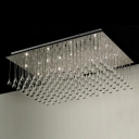 Dazzling Clear Crystal Teardrops Waterfall Square Stainless Steel Chrome Finished Modern Flush Mount