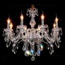 Stunning Crystal Ball and Faceted Crystal Droplets Graceful  Curved Arms Chandelier