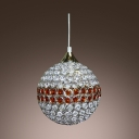 Classic Disco Ball Mini Pendant Light Embedded by Amber and Clear Crystals