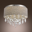 Gracefully Stainless Steel Canopy Clear Crystal Beads and Drops 8-Light Flush Mount