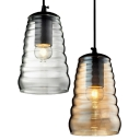 Vintage Glass Pendant Light In Amber Color