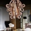 Novelty Wooden Scrolls Designer Semi-Flush Mount Ceiling Lights