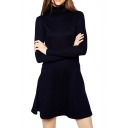 High Neck Cute Style Dark Blue Ruffle Hem Slim Dress