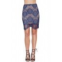 Blue Plain Floral Crochet Lace Wave Hem Skirt