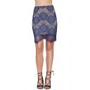 Blue Plain Floral Crochet Lace Wave Hem Skirt