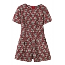 Short Sleeve Vintage Ethnic Flower Print Burgundy Rompers