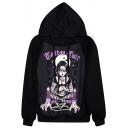 Purple Witch&Skull Print Black Hoodie