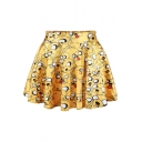 Hot High Waist Cartoon Character Print Pleated Mini Skirt