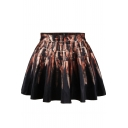 Artistic Painting Print High Waist Pleated Mini Skirt