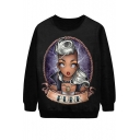Silver Hair Girl Print Funk Black Sweatshirt