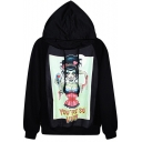 Green Female Ghost Print Black Hoodie
