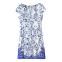 Blue Floral Embroidered Cap Sleeve Sequins Cheongsam Dress