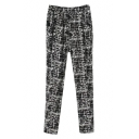 Plaid Print Harem Elastic Laid Back Pants