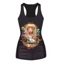 Blond Hair Girl with Rabbit Print Black Tanks