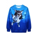 Swimming Kitty with Money Blue Sweatshirt