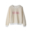 Sweet Embroidered Letter Round Neck Long Sleeve Sweatshirt