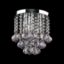 Beautiful Crystal Rainfall abd Round Chrome Finish Base Made Modern Style Flush Mount Ceiling Light Timeless Look