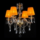Exquisite Orange Four Lights Crystal Style Luxurious Chandelier with Golden Fabric Shade