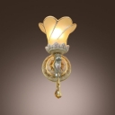 Beauteous White and Gold Finish Pairs with Delicate Round Iron Base Embellished Elegant Single Light Wall Sconce