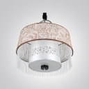 Beautiful Roses Embellished Chic Modern Large Pendant Light  with Clear Hand-cut Crystal Drop