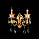 Gold Finish and Crystal Drops Add Glamour to Exquisite Candelabra Style Wall Sconce