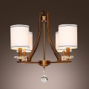 4-Light Brass Finished Drum Shades Sparkling Crystal Ball Chandelier