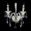 Glistening Two Candle-style Light and Graceful Lead Crystal Formed Impressive Vibrant Wall Sconce