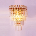 Polished Gold Finsh Crystal Wall Sconce Offers Dramatic Addition to Your Decor