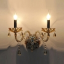 Two Light Wall Sconce Features Beautiful Hand-cut Crystal and Sleek Scrolling Arms