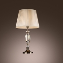 Delicate Pleated Beige Fabric Shade and Crystal Urn Center Formed Traditional Look Table Lamp