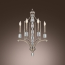Dazzling Chandelier Features Clear Crystal Center and Antique Brass Finish Frame