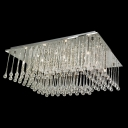 Stainless Steel Rectangular Flush Mount Lighting Hanging Majestic and Chic Crystal