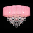 Sparkling Clear Crystal Teardrops Falling and Pink Shaded Romantic Flush Mount