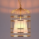 Gloden Finished Industrial Bird Cage LED Pendant with White Shade