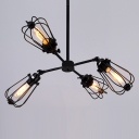 Black Cage Bulb Style Four-light Muedium LED Chandelier