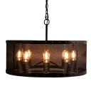 Industrial Round Black Iron Network 8-light Pendant